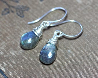 Labradorite Earrings Sterling Silver Wire Wrapped Labradorite Briolette Earrings Luxe Rustic Jewelry