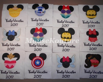 Disney Family Shirts Mickey Minnie Embroidery Mouse Ears Family Vacation Clothes or Cruise Shirt - personalized - Mix n Match