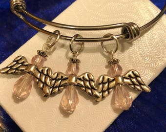Light Pink Angels on Stainless Steel Bangle Bracelet