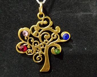 Family Tree Pendant with 4 gemstones