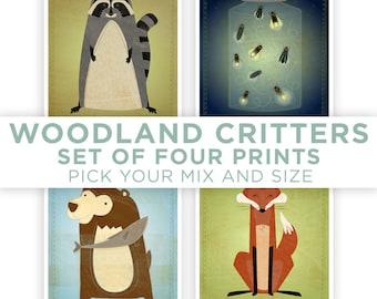 Kids Art for Kids Room Decor, Woodland Nursery Prints, Kids Wall Art, Cute Animal Art, Woodland Critters Series Set of 4 Prints