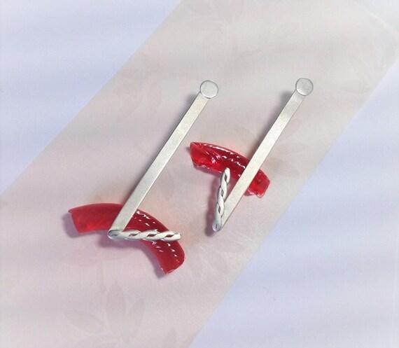 Long Geometric Earrings | Mismatched Earrings | Contemporary Silver Earrings