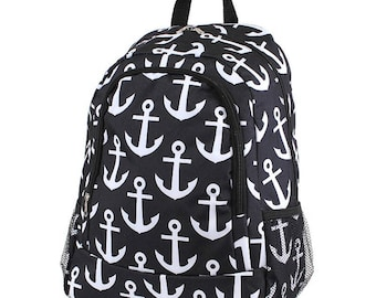 Anchor Monogram Backpack, Personalized Backpack, Monogram Bookbag, Boys Backpack, Pink Backpack, Kids Backpack, School Backpack