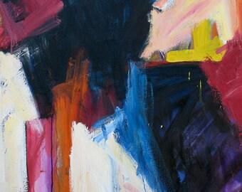 August GICLEE ART PRINT  11x17 abstract dark blue magenta summer