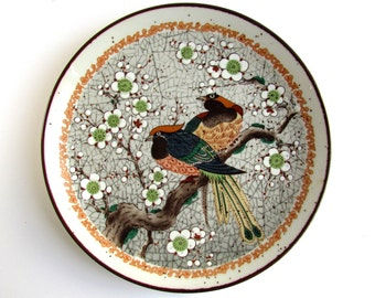 Japanese Plate, Beautifully Painted Birds in a Tree, Vintage