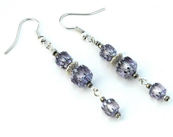 Lilac Blue Beaded Drop Earrings, Czech Glass Beads in Pale Blue with Silver, Bridesmaid Jewelry