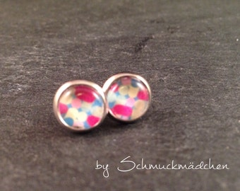 Earrings silver pattern stained
