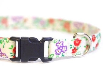 Beige Cat Collar Floral | Breakaway Cat Collar | Handmade | Adjustable | Small Dog Collar | Pet Collar |Safety Cat Collar |Floral Dog Collar