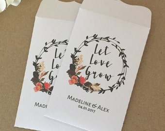 10 Wedding Favour White Seed Packet Envelopes Personalised