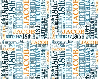 Personalised 18th Birthday Gift Wrap With Own Name Wordart