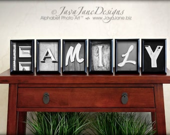 FAMILY spelled out in individual 4x6 Alphabet Letter Photos for Banner or Bunting, Holiday Stocking Stuffer, Family Gift