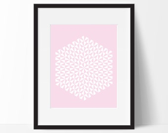 Geometric Print Art, Geometric Art, Geometric Printable, Digital Art Print, Geometric Print, Instant Download, Modern, Pink