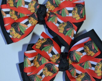Chicago Blackhawks Set of Two Hair Bows Hockey NHL