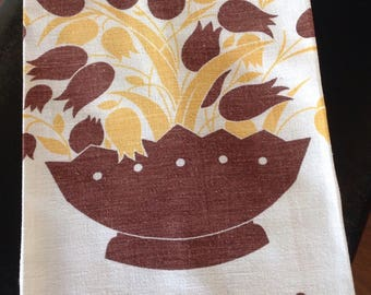 Chocolate Tulips Vintage Kitchen Towel