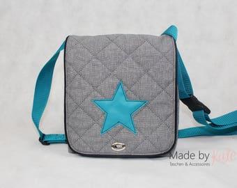 Messenger bag, small messenger bag, grey bag, cross body bag, grey and turquoise, star bag, college bag,