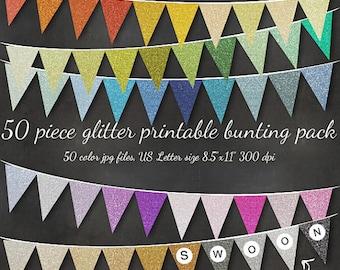 HUGE Glitter Bunting - Printable Editable 51 Piece Sparkly Bunting Download - Birthday Christmas Banner Flags Wedding Holiday Custom