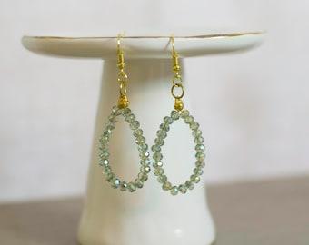Beaded Wire Earrings, Green Earrings, Hoop Earrings, Wire Jewelry, Beaded Wire Jewelry, Wire Earrings