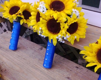 10 piece Sunflower Bouquet Yellow Sunflower Wedding Flower Set, Bridal Bouquet, Sunflower Horizon Blue Bouquet, Yellow Blue Bouquet Bride