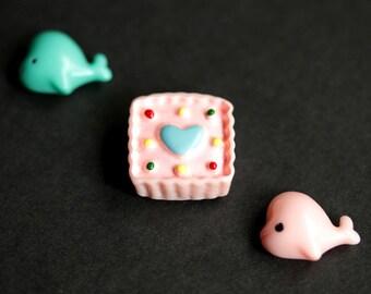 Kawaii Refrigerator Magnets. Set of Three. Pink and Turquoise Blue Fridge Magnet Set. Cute Magnets. Handmade Home Decor.