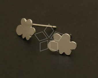 SI-515-MS / 2 Pcs - Small Cloud Earrings, Matte Silver Plated, with .925 Sterling Silver Post / 9.4mm x 6.8mm