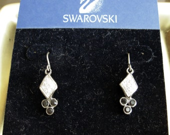 Vintage Swarovski earrings-clear and black crystals
