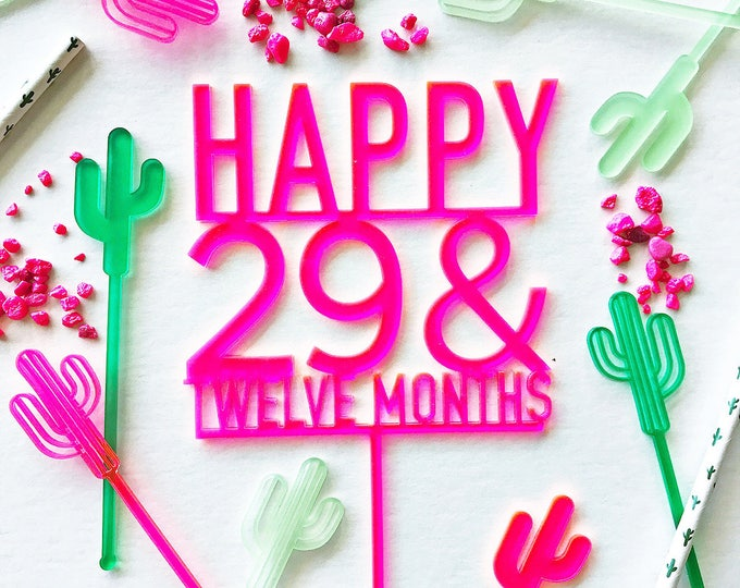 Twenty Nine And Twelve Months Cake Topper