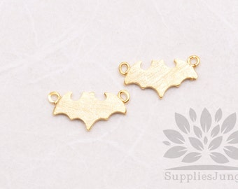 P603-02-MG// Matt Gold Plated Brushed Batman Pendant, 4 pcs
