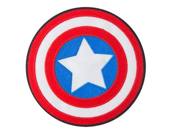 Captain America Iron On Applique, Genuine Marvel Iron On Patch, Shield Patch, Superhero Applique, Kids Patch, Embroidered Patch, 3.5