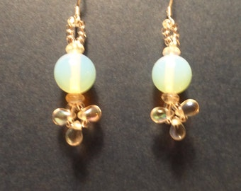 Ethereal Opalescent dangle earrings. Teardrop shaped drops.