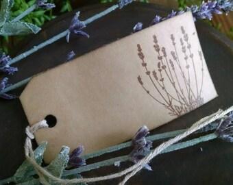 "Lavender bush- set of 12 handstamped gift tags, sized 3 3/4"" x 1 7/8"""