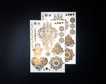 Cover yourself in gold temporary tattoos, Metallic Tattoo. Temporary Jewelry Tattoo, party Favors, shiny and chic tattoo set.
