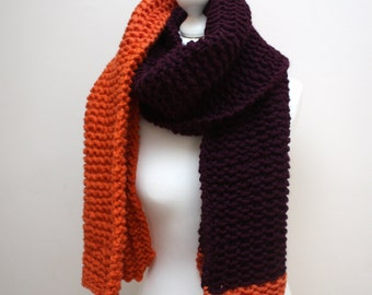 Purple and Orange Scarf, Super scarf, Chunky knit wool scarf, Long winter scarf, Colourful knitted scarf, Merino Wool Scarf, Knitted scarf