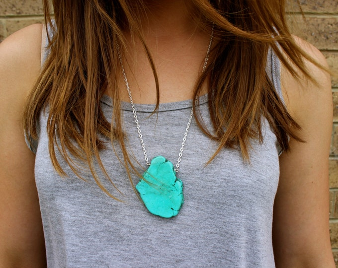 Turquoise Slab Nugget Statement Necklace.