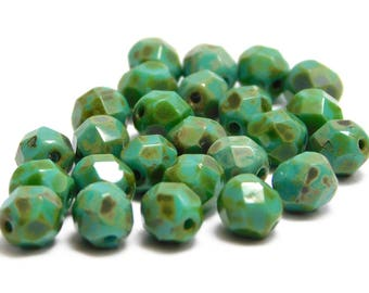 6mm Fire Polished Glass Beads - Czech Picasso Beads - Firepolish Beads - Czech Glass Beads - Turquoise Picasso - 25pcs (3180)