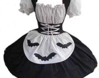 Witch Halloween Costume Black Dress with Bats Gothic Ragdoll Goth Dress Womens Adults Custom Size including Plus Sizes Made to Measure