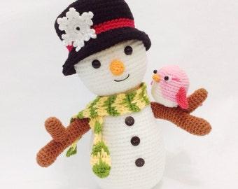 PATTERN - Snowman And Bird - Crochet Pattern, pdf
