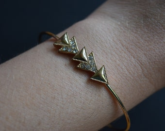 Arrow Triangle Gold Rhinestone Bangle Bracelet Vintage