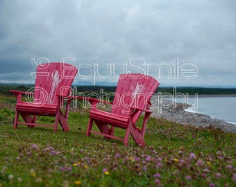 Fine Art Photography -Seaside Chairs, Newfoundland Large Canvas Gallery Wrap