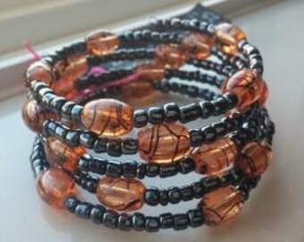 Peach Swirl Graphite Wrap Bracelet