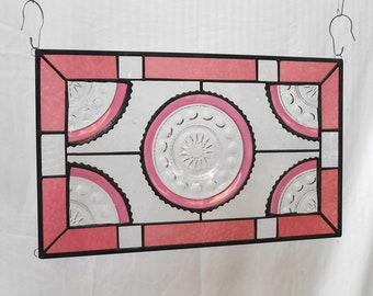 Stained Glass Window Panel, Indiana Glass Kings Crown Cranberry Flashed Thumbprint Plate, Antique Art, Recycled Stained Glass Transom Window