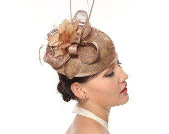 Kentucky Derby Feather Floral Sinamay with Lace and Feathers Headband Fascinator  Hat Cocktail Taupe
