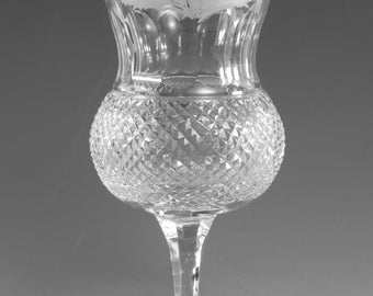 """EDINBURGH Crystal - Old THISTLE Cut - Water Goblet Glass / Glasses - 6 1/2"""" 2ndQ"""