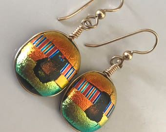 Beautiful Handcrafted Dichroic Fused Glass Dangling Earrings
