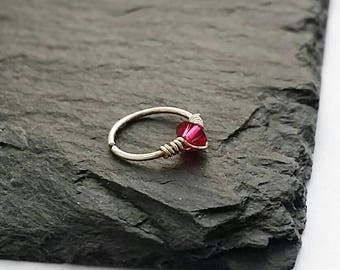 Silver Nose Ring - Forward Helix Earring - Tragus Hoop - Nose Ring Hoop - Cartilage Earring - Helix Ring Hoop