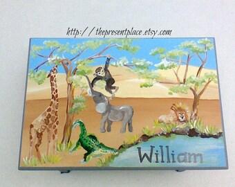 personalized,customized Elephant step stool,jungle step stool,baby,kid's bench,children's step stool,giraffe,lion,monkey,elephant step stool