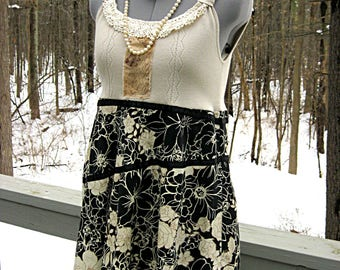 Beige and black hippie boho upcycled babydoll top, altered clothing, shabby style tunic, funky artsy clothing, womens XS, lily whitepad