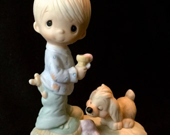 "Precious Moments ""Praise The Lord Anyhow"" - Boy W/Ice Cream Cone And Dog"