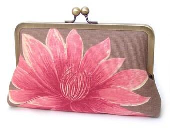 Waterlily clutch bag, pink lotus purse for wedding, bridal bag, bridesmaid gift ON SALE
