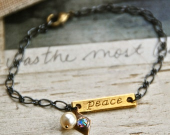 Stamped word peace charm bracelet / inspirational/ positive / yoga/ peace bracelet. Tiedupmemories