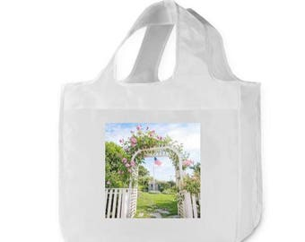 Reusable Grocery Bag, Shopping Bag, Nantucket, Market Bag, 15.5 x 15.5 x 4 Size, Polyester Bag, Water Resistant Polyester, Eco Tote Bags